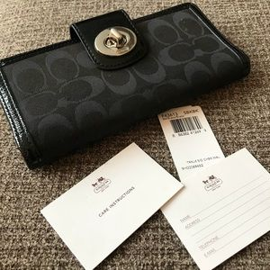 Coach Black Logo Wallet with Patent Leather Trim